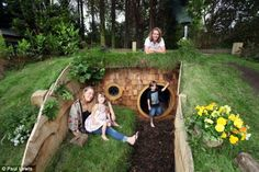 Hobbit Hole Grand entrance: The warren is buried more than four feet into the ground but has of head room inside <<< Dad, time to step up your game ; Natural Playground, Backyard Playground, Backyard For Kids, Kids Den, Kids Play Area, Outdoor Play Areas, Outdoor Fun, Back Gardens, Outdoor Gardens