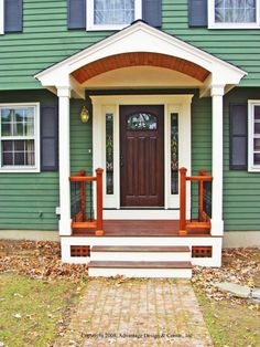 The 14 Perfect Front Door Porch Design Ideas Exterior Design, Front Porch Columns, Portico Entry, Porch Roof, Small Front Porches Designs, Colonial Front Door, Porch Entry, Front Porch Design, Front Door Overhang