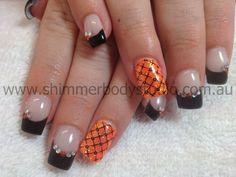 Gel Nails, Glitter nails, black and orange nails, crystals, diamantes, konad stamping nail art.