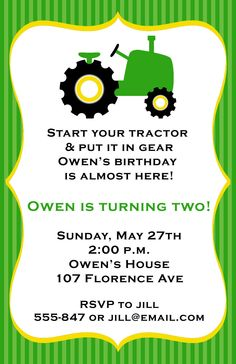 Tractor Birthday Party Invitations by ExpressionsPaperie on Etsy