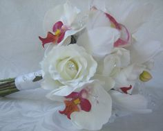 Bridal+bouquet+white+orchids+feathers++by+ChurchMouseCreations,+$75.00
