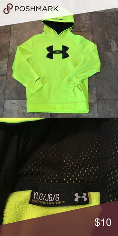 Youth Under Armour Sweatshirt, size Large Youth Under Armour Storm Pullover Sweatshirt, size Large. Lime green with black & gray striped UA logo on the front. Very good condition. Under Armour Shirts & Tops Sweatshirts & Hoodies