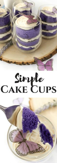 Simple Cake Cups. Deliciously layered violet cake within a cup with premade cream cheese frosting and topped with a gorgeous edible butterfly. #ad #DoughBoySurprise