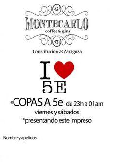 #Montecarlo #Gins Descuentos en copas #Zaragoza