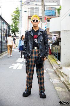 Harajuku Guy's Punk Inspired Street Style w/ Yellow Hair, Biker Jacket, Demonia & MYOB NYC