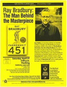 Courtesy of Queensborough Public Library. Fahrenheit 451, What Book, Associate Professor, The Masterpiece, The Man, Public, Author, Graphics