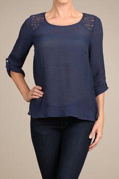 Loose fit crochet paneled blouse