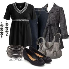 """""""Black & Grey - Plus Size"""" by amo-iste on Polyvore"""