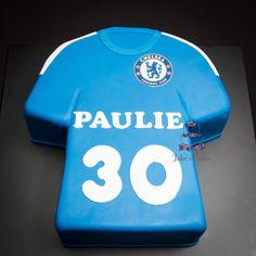 Chelsea Football Club shirt cake. Gluten free vanilla butter cake on the inside