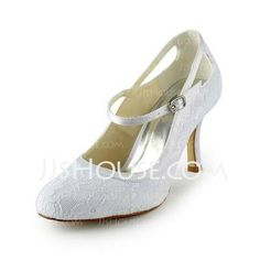 White or Ivory Wedding Shoes - $57.99 - Lace Satin Stiletto Heel Closed Toe Pumps Wedding Shoes (047024513) http://jjshouse.com/Lace-Satin-Stiletto-Heel-Closed-Toe-Pumps-Wedding-Shoes-047024513-g24513