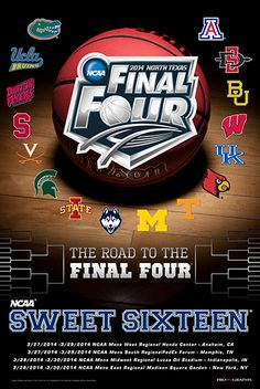 2014 Official NCAA March Madness Sweet 16 Teams Basketball Print Poster
