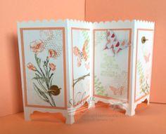 35 Trendy folding screen diy stampin up Fancy Fold Cards, Folded Cards, Handmade Birthday Cards, Greeting Cards Handmade, Card Making Inspiration, Making Ideas, Screen Cards, Step Cards, Shaped Cards