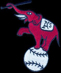 Kansas City Athletics Primary Logo (1955) - An Elephant on a baseball holding a bat