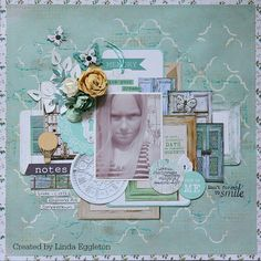 """""""This is Me"""" Layout (IMG_1865) by Linda Eggleton ( Kaisercraft Design Team ) using """"Blue Bay Collection ~ Scrapbook Pages 1."""
