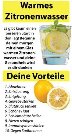 Start your day with warm lemon water - 10 G - Detox Keto Ideen Citrus Water, Warm Lemon Water, Infused Water, Detox Drinks, Healthy Drinks, Fitness Workouts, Best Weight Loss, Weight Loss Tips, Dietas Detox