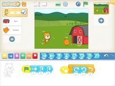 Scratch Jr iPad app (5-7year olds) programming to create games and stories.