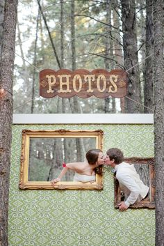 such a cute idea. create your own photobooth for the wedding ♥ -We will have something similar but it will just be a frame hanging from a tree branch and we will provide a few disposable cameras. but guests will be able to use their own too....I hope