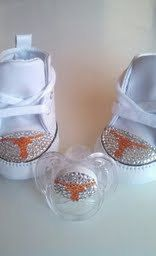 texas longhorns inspired swarovski crystal covered baby converse and matching pacifier