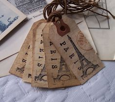 Rustic PARIS Tags Set of Six by frenchhenshop on Etsy, $5.00