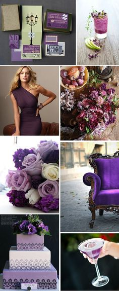 dislike stationary. love the drink. love the dress. would like roses to be real roses. love the chair. dislike the cake and martini. purple weddings Purple Wedding Ideas
