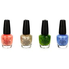 OPI Four-Piece Shimmering Nail Lacquer Set ($9.99) ❤ liked on Polyvore featuring beauty products, nail care, nail polish, makeup, opi nail color, opi nail varnish, opi nail lacquer, opi and opi nail polish