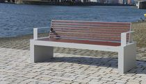 Public bench / contemporary / stainless steel / aluminum