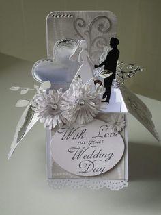 Wedding Day Cards, Wedding Shower Cards, Wedding Cards Handmade, Wedding Anniversary Cards, Handmade Birthday Cards, Gift Wedding, Exploding Box Card, Pop Up Box Cards, Wedding Scrapbook