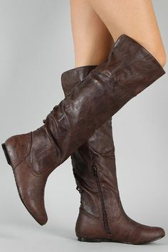 Brown Pirate Corset Over the Knee Riding Boots Womens