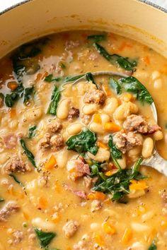 White Bean Sausage Soup, Italian Sausage Soup, White Bean Soup, Bean With Bacon Soup, White Beans And Sausage Recipe, Italian Bean Soup, Sausage And Kale Soup, Tuscan Bean Soup, Bean Soup Recipes