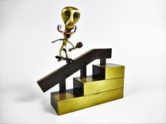 Excited to share the latest addition to my #etsy shop: Skateboarding figurine performing backside 5-0. Skate art. Skateboard. Bronze art. Gift ideas