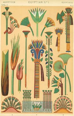 The lotus and papyrus, growing on the banks of the river, symbolising the food for the body and mind; the feathers of rare birds, which were carried before the king as emblems of sovereignty; the palm-branch, with the twisted cord made from its stems; these are the few types which form the basis of that immense variety of ornament with which the Egyptians decorated the temples of their gods, the palaces of their kings, the covering of their persons, their articles of luxury or of more modest…