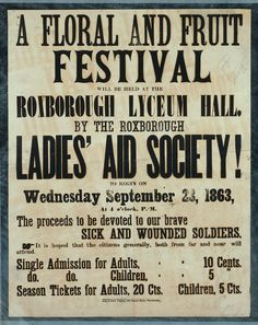 A floral and fruit festival will be held at the Roxborough Lyceum Hall by the Roxborough Ladies' Aid Society! [Poster]