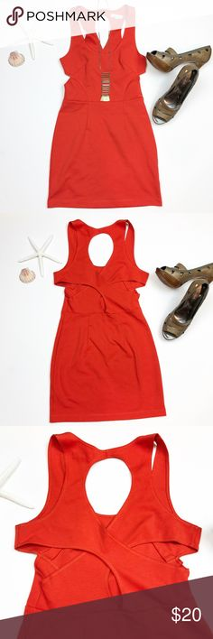 Silence + Noise UO orange body con dress size S Silence + Noise {UO} / size S  . Bright orange body con dress. Cutout on sides opens to cross cross back and more cutouts . Ptp 14 (lots of stretch), length 30.5 . Urban Outfitters Dresses