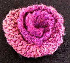 Rosy crochet slip stitch rose. Wool and soy blend (SWTC Karaoke yarn).