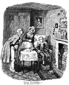 """""""Oliver recovering from fever,"""" sixth illustration for """"Oliver Twist"""" by George Cruikshank"""