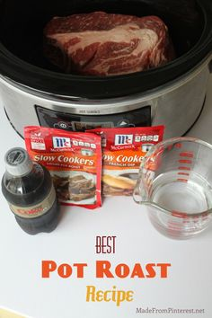 5 ingredients- •McCormicks slower cooker Savory Pot Roast season packet •An Au Jus packet •A Can of Pepsi or Coke• A Boneless Chuck Roast • crock pot 8 hours on low, 5 hours on high. Moist, tender, flavorful.