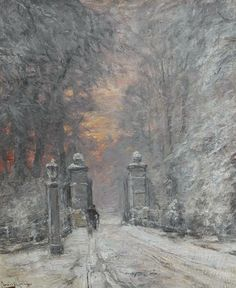 By the Gate in Winter by Louis Apol (Dutch 1850-1936)