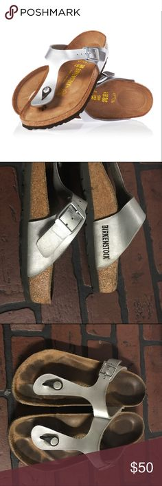 Silver gizeh birkenstocks Worn a couple times but in great condition still ❌ I DO NOT TRADE❌ Birkenstock Shoes Sandals