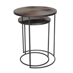 Create a unique setting with this Nesting Side Table set from Notre Monde. Striking in style it includes a small and large table, both beautifully crafted by hand and enhanced with a chic rustic mirro Round Accent Table, Oval Table, Round Tray, Round Side Table, Large Table, Small Tables, Accent Tables, Grey Table, Nest Furniture