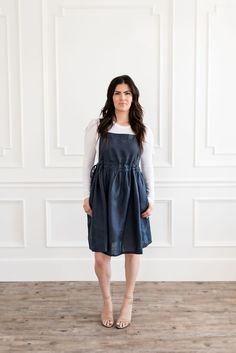 Linen apron back wrap dress with pockets. Soft linen fabric & wrap detail on back side. Modest Outfits, Modest Fashion, Cute Outfits, Linen Apron, Linen Dresses, Linen Fabric, Best Sellers, Midi Skirt, Wrap Dress