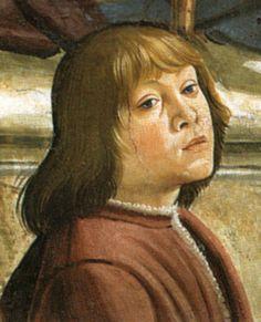 Piero di Lorenzo de' Medici, detto il Fatuo o lo Sfortunato -Ritratto come fanciullo nella Cappella Sassetti - Consegna della regola - Ghirlandaio