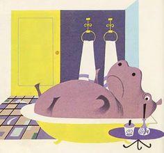 hippo in bathtub | hippo in the bathtub illustration by Elisabeth Brozowska