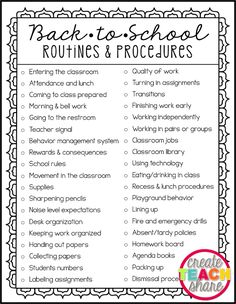 Back-to-School Routines & Procedures – Create.Share Back-to-School Routines & Procedures Upper Elementary Snapshots: Back-to-School Routines & Procedures Back To School Night, 1st Day Of School, Beginning Of School, School Grades, School School, Middle School Teachers, School Stuff, Back To School Kids, First Year Teachers