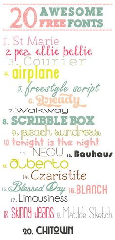 SillyWorld: 20 besplatnih fontova / 20 free fonts download