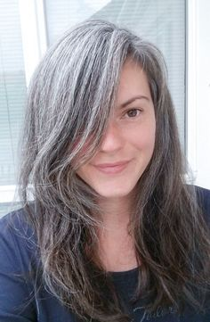 Beautiful natural silver, grey hair