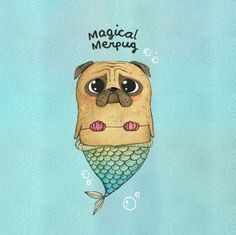 Vines of funny pets. Pugs are fantastic. Vines of funny dogs. Pugs are amazing. Animals Watercolor, Baby Pugs, Pug Art, Pug Pictures, Funny Illustration, Pug Puppies, Mermaid Art, Watercolor Mermaid, Mermaid Paintings