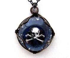 Pirate Pendant  Black and White Jolly Roger by ElainaLouiseStudios, $29.00