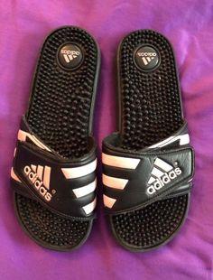 d7bc6b59665 Adidas Black Slides Shower Athletic Swim Sandal 087609 Womens Size 6   fashion  clothing