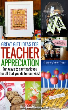 """Teacher Appreciation Gift Ideas.  Lots of fun, easy and sweet ways to say """"Thank You!"""" to teachers!  #teachers"""