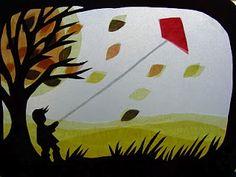 Autumn Kite flying, Steiner/Waldorf window transparency